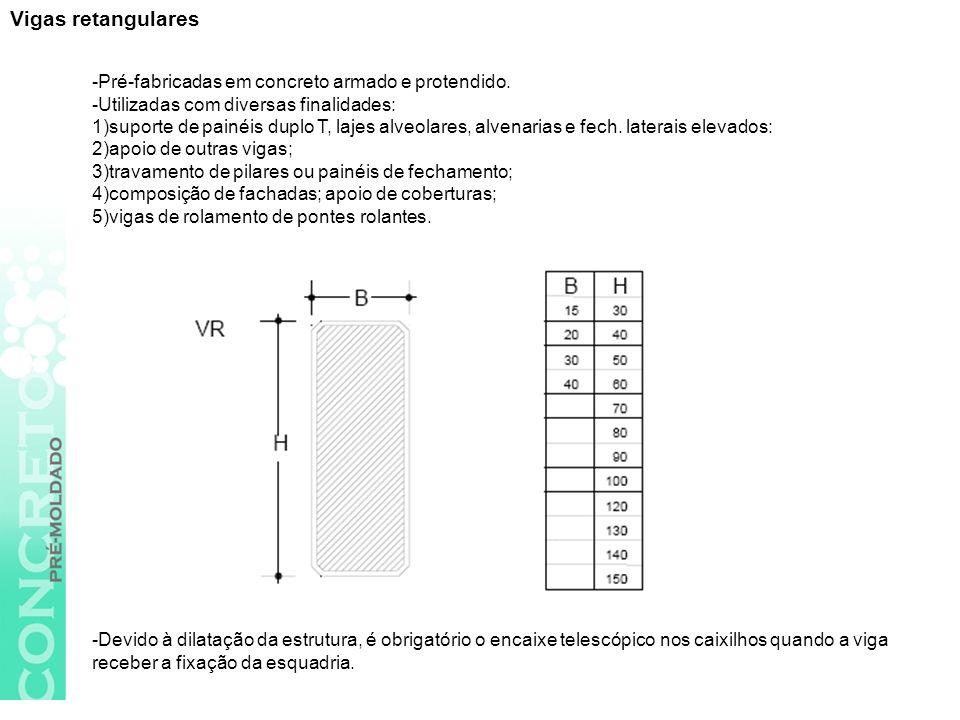 Vigas retangulares -Pré-fabricadas em concreto armado e protendido.