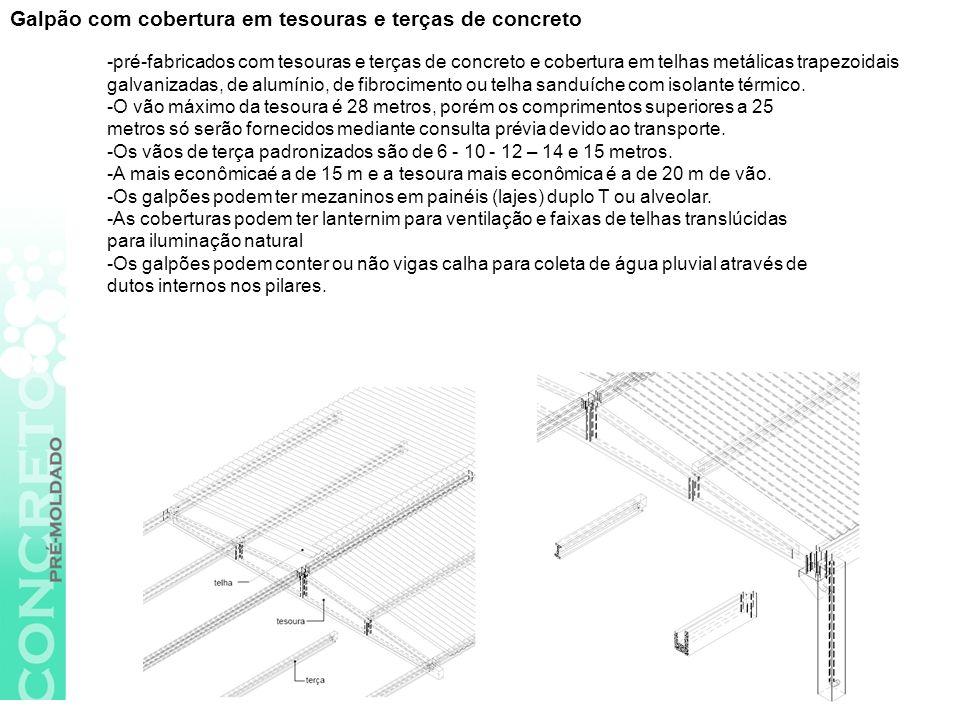 Galpão com cobertura em tesouras e terças de concreto