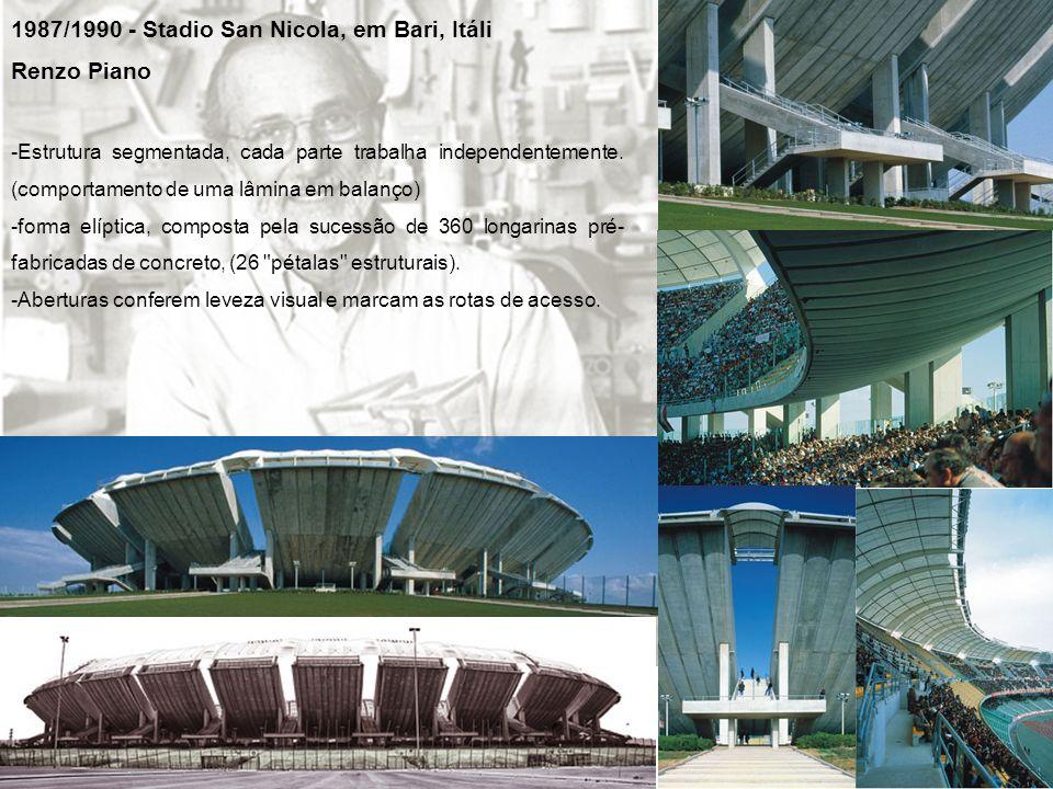 1987/1990 - Stadio San Nicola, em Bari, Itáli Renzo Piano