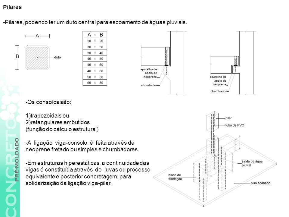 Pilares -Pilares, podendo ter um duto central para escoamento de águas pluviais. -Os consolos são: