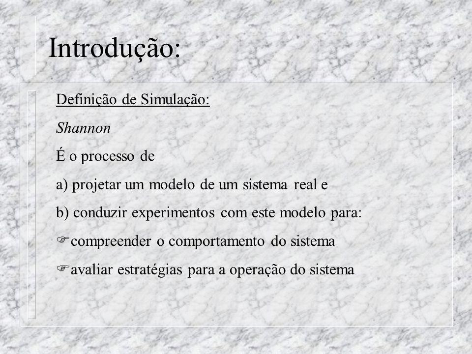 Introdução: Definição de Simulação: Shannon É o processo de