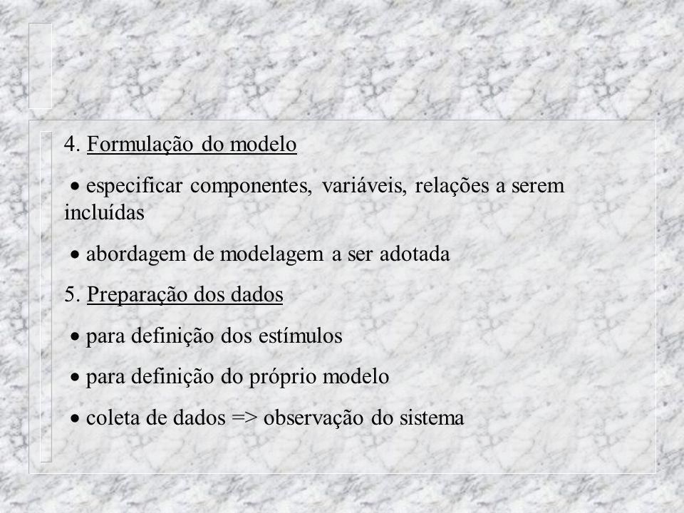 4. Formulação do modelo especificar componentes, variáveis, relações a serem incluídas.  abordagem de modelagem a ser adotada.