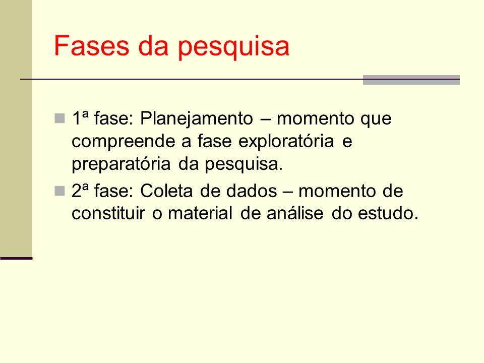 Fases da pesquisa 1ª fase: Planejamento – momento que compreende a fase exploratória e preparatória da pesquisa.