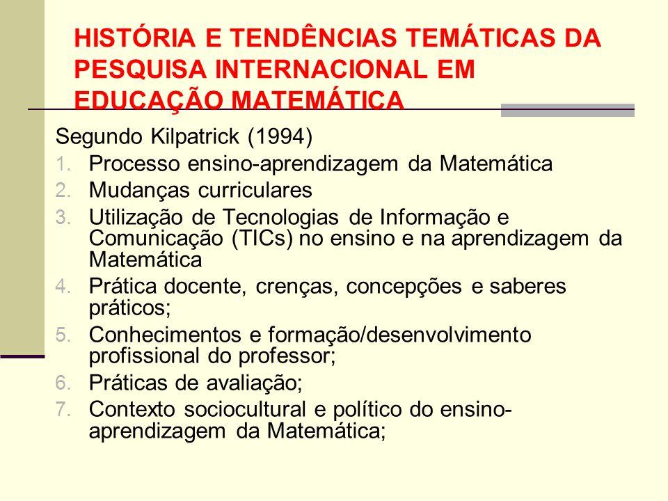 HISTÓRIA E TENDÊNCIAS TEMÁTICAS DA PESQUISA INTERNACIONAL EM EDUCAÇÃO MATEMÁTICA