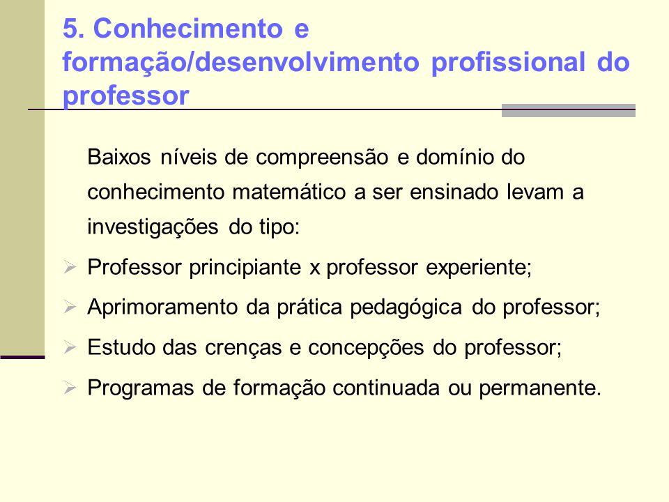 5. Conhecimento e formação/desenvolvimento profissional do professor