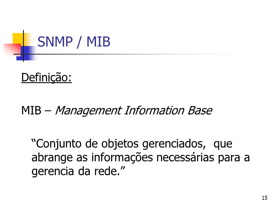 SNMP / MIB Definição: MIB – Management Information Base
