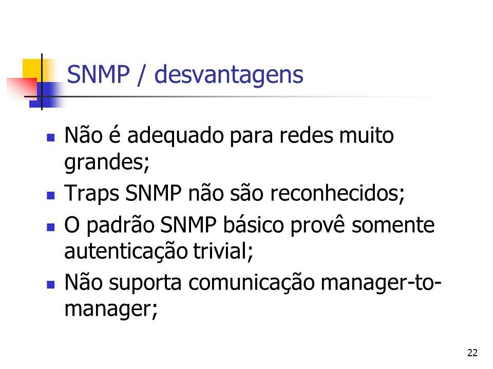 SNMP / desvantagens Não é adequado para redes muito grandes;