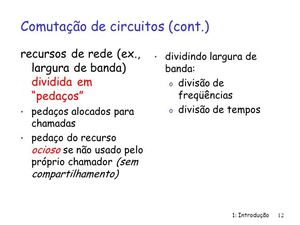 Comutação de circuitos (cont.)