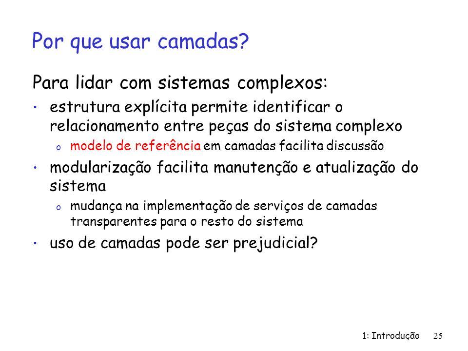 Por que usar camadas Para lidar com sistemas complexos: