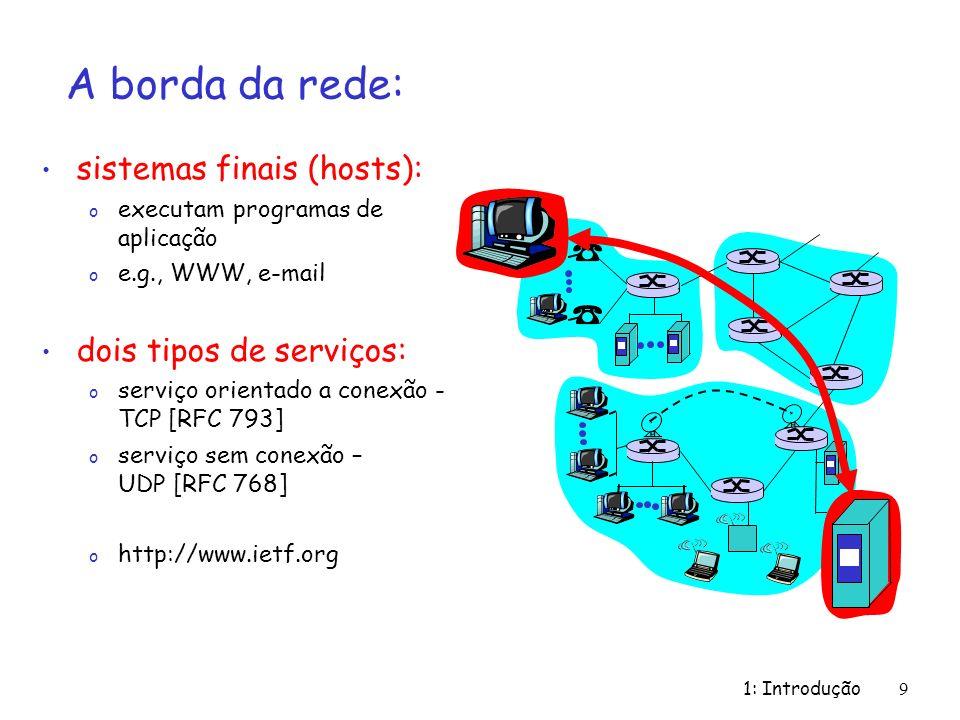 A borda da rede: sistemas finais (hosts): dois tipos de serviços: