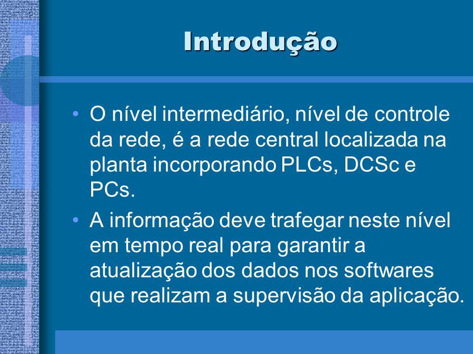 Introdução O nível intermediário, nível de controle da rede, é a rede central localizada na planta incorporando PLCs, DCSc e PCs.