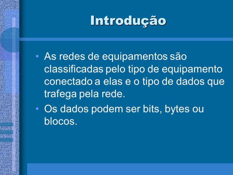 Introdução As redes de equipamentos são classificadas pelo tipo de equipamento conectado a elas e o tipo de dados que trafega pela rede.