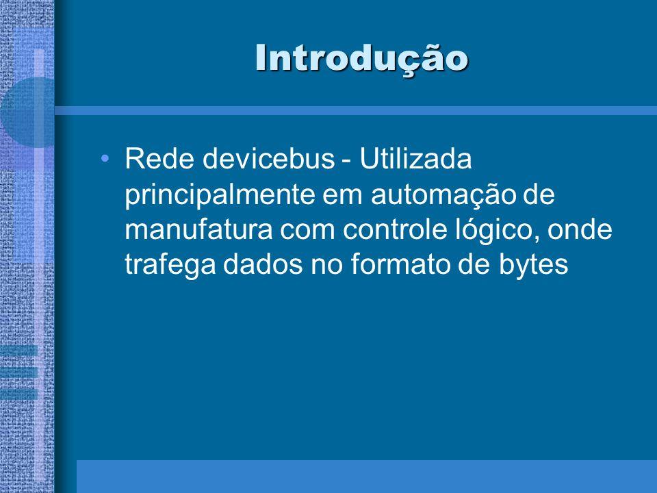 Introdução Rede devicebus - Utilizada principalmente em automação de manufatura com controle lógico, onde trafega dados no formato de bytes.