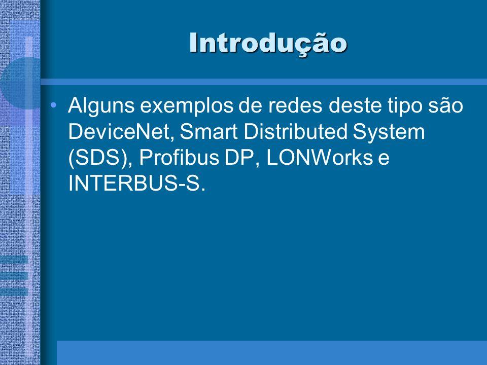 Introdução Alguns exemplos de redes deste tipo são DeviceNet, Smart Distributed System (SDS), Profibus DP, LONWorks e INTERBUS-S.