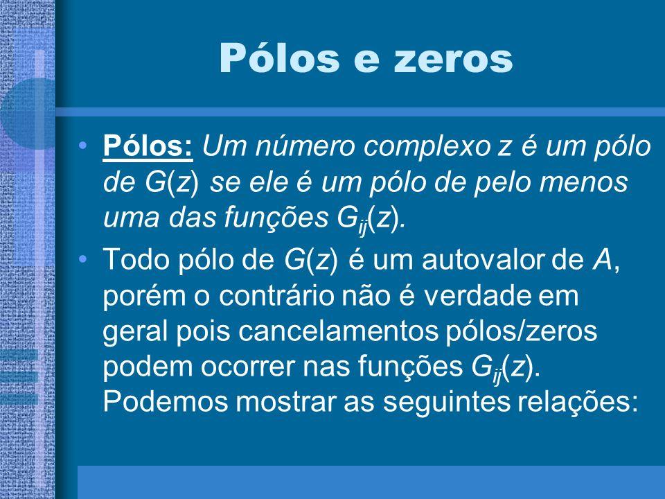 Pólos e zeros Pólos: Um número complexo z é um pólo de G(z) se ele é um pólo de pelo menos uma das funções Gij(z).
