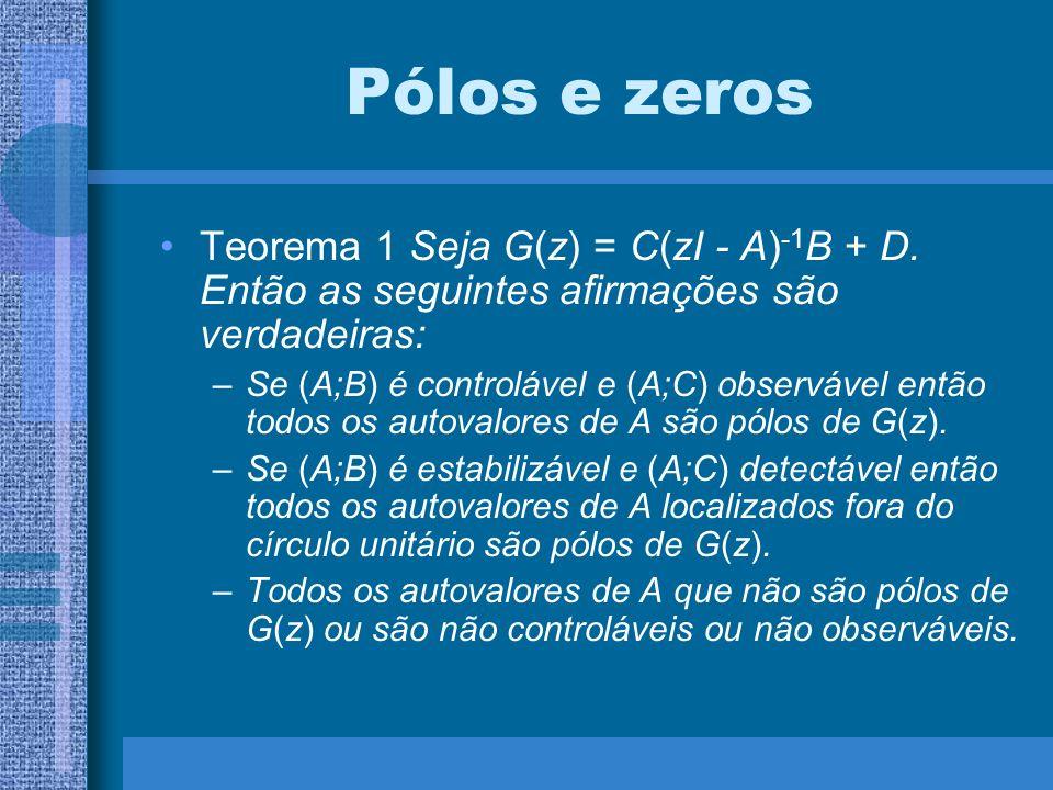 Pólos e zeros Teorema 1 Seja G(z) = C(zI - A)-1B + D. Então as seguintes afirmações são verdadeiras: