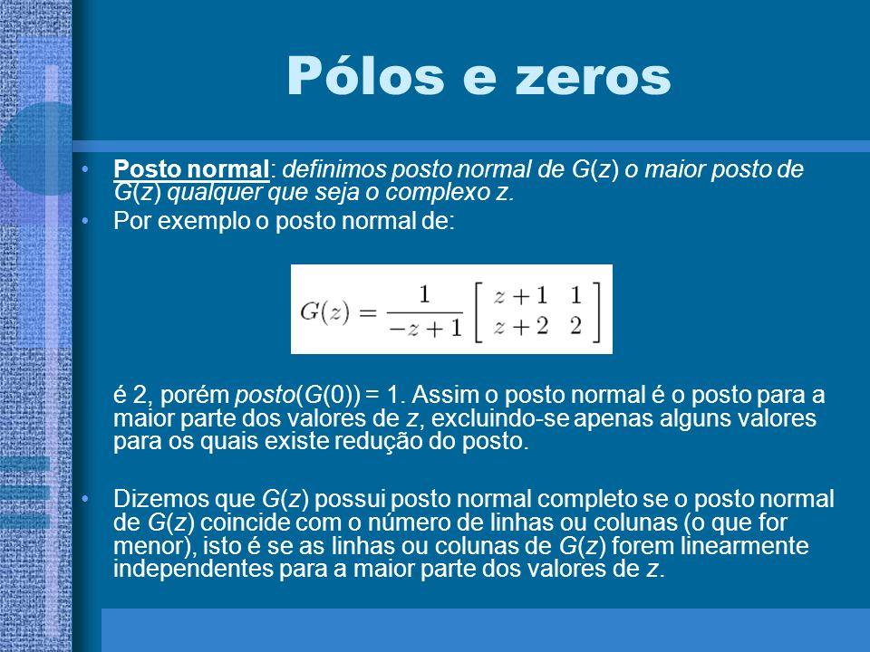 Pólos e zeros Posto normal: definimos posto normal de G(z) o maior posto de G(z) qualquer que seja o complexo z.