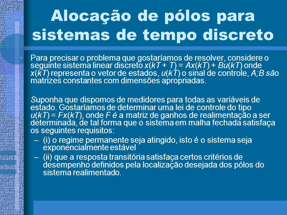 Alocação de pólos para sistemas de tempo discreto