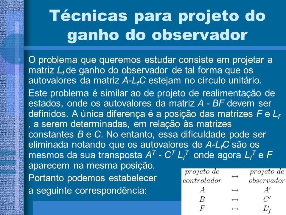 Técnicas para projeto do ganho do observador