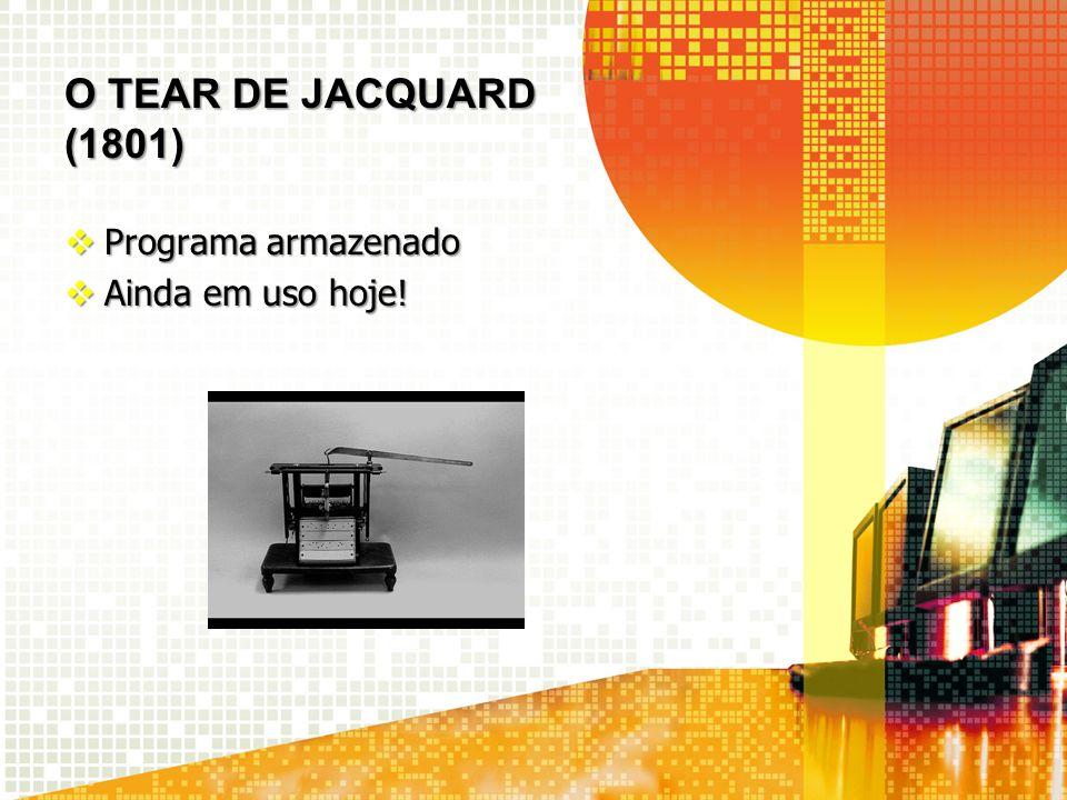 O TEAR de JACQUARD (1801) Programa armazenado Ainda em uso hoje!