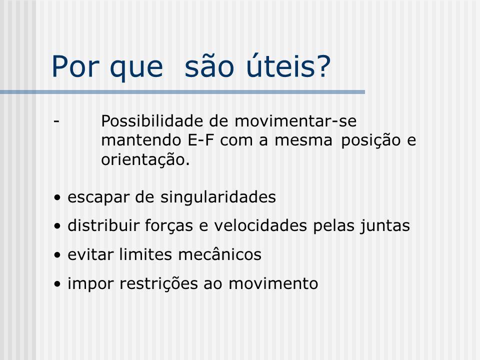 Por que são úteis - Possibilidade de movimentar-se mantendo E-F com a mesma posição e orientação.