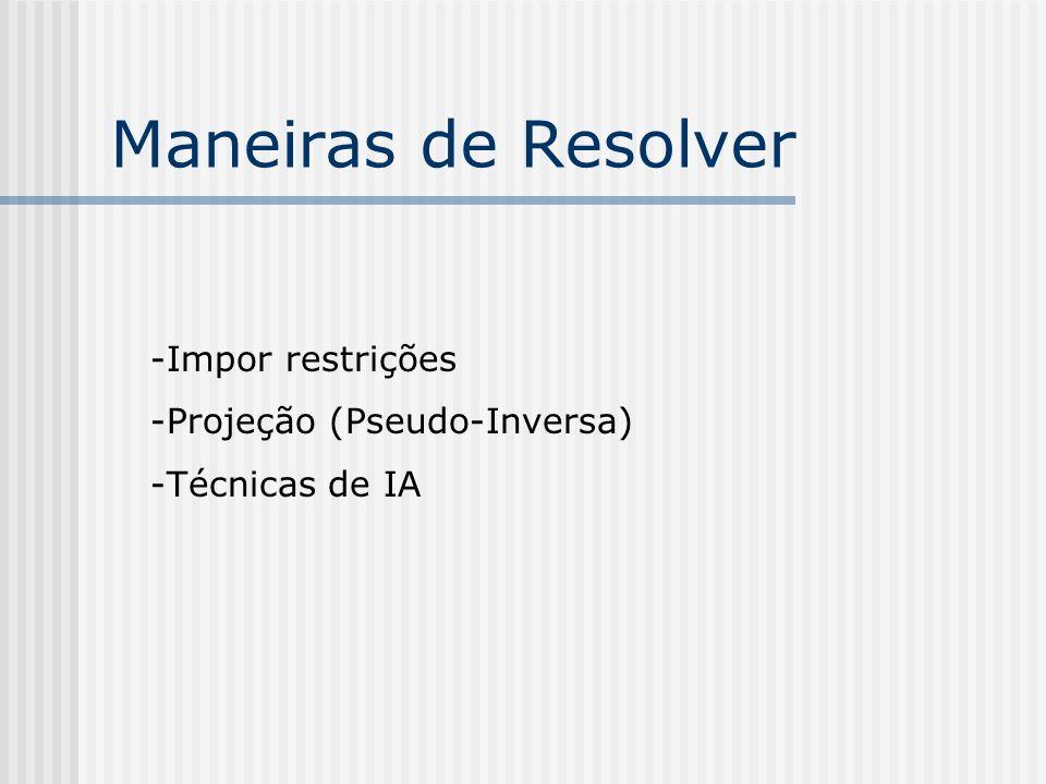 Maneiras de Resolver Impor restrições Projeção (Pseudo-Inversa)