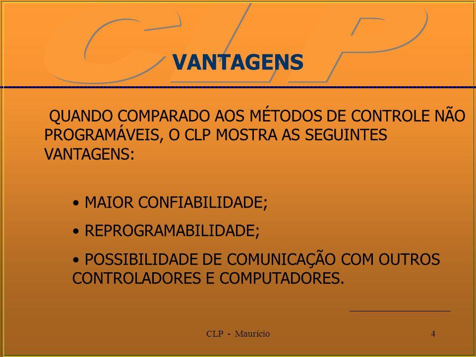 VANTAGENSQUANDO COMPARADO AOS MÉTODOS DE CONTROLE NÃO PROGRAMÁVEIS, O CLP MOSTRA AS SEGUINTES VANTAGENS: