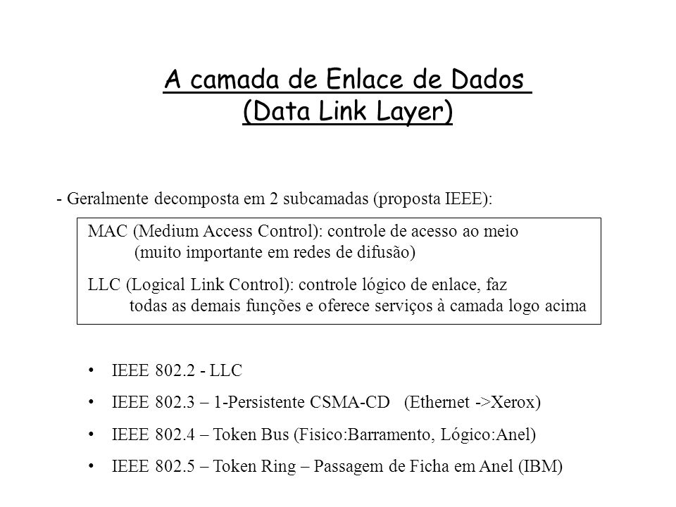 A camada de Enlace de Dados (Data Link Layer)