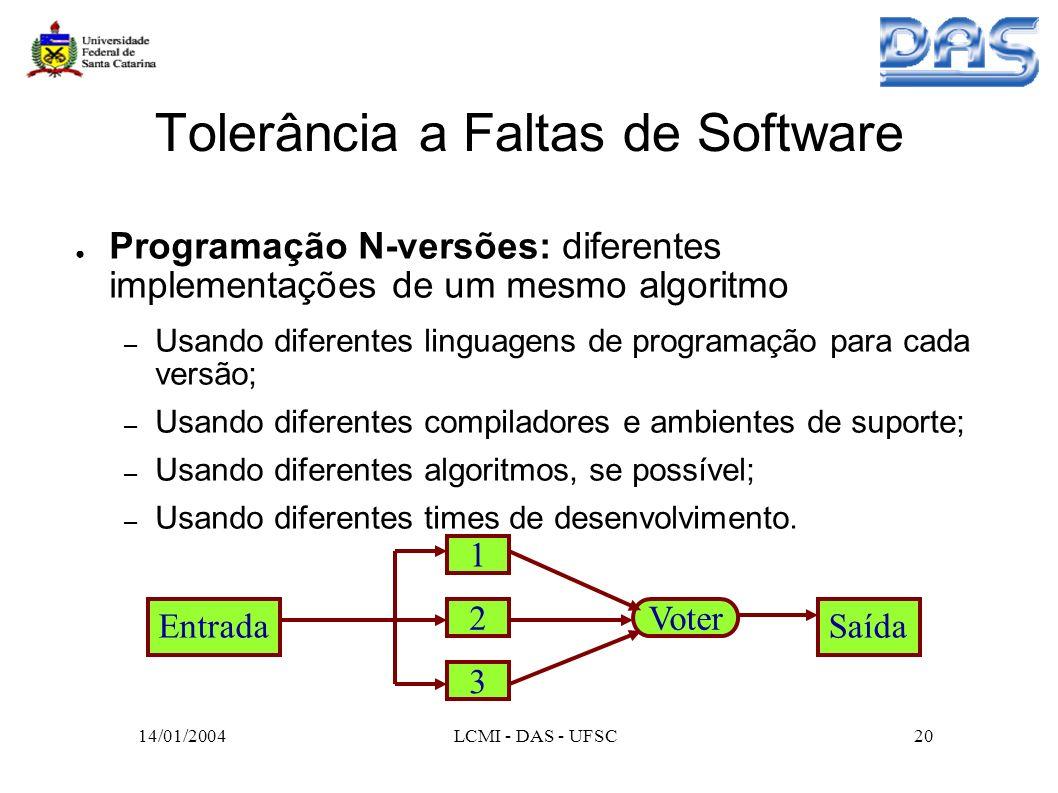 Tolerância a Faltas de Software