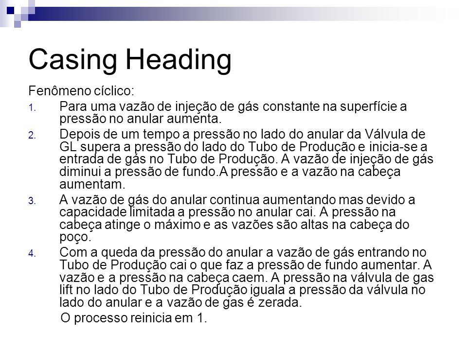 Casing Heading Fenômeno cíclico: