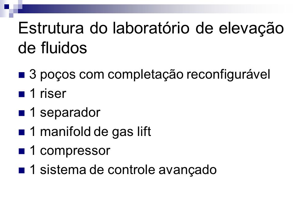 Estrutura do laboratório de elevação de fluidos