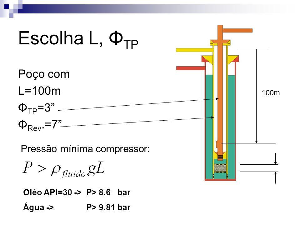 Escolha L, ΦTP Poço com L=100m ΦTP=3 ΦRev.=7