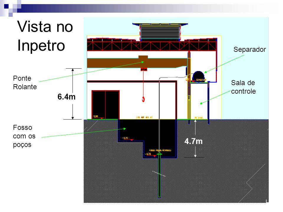 Vista no Inpetro 6.4m 4.7m Separador Ponte Rolante Sala de controle