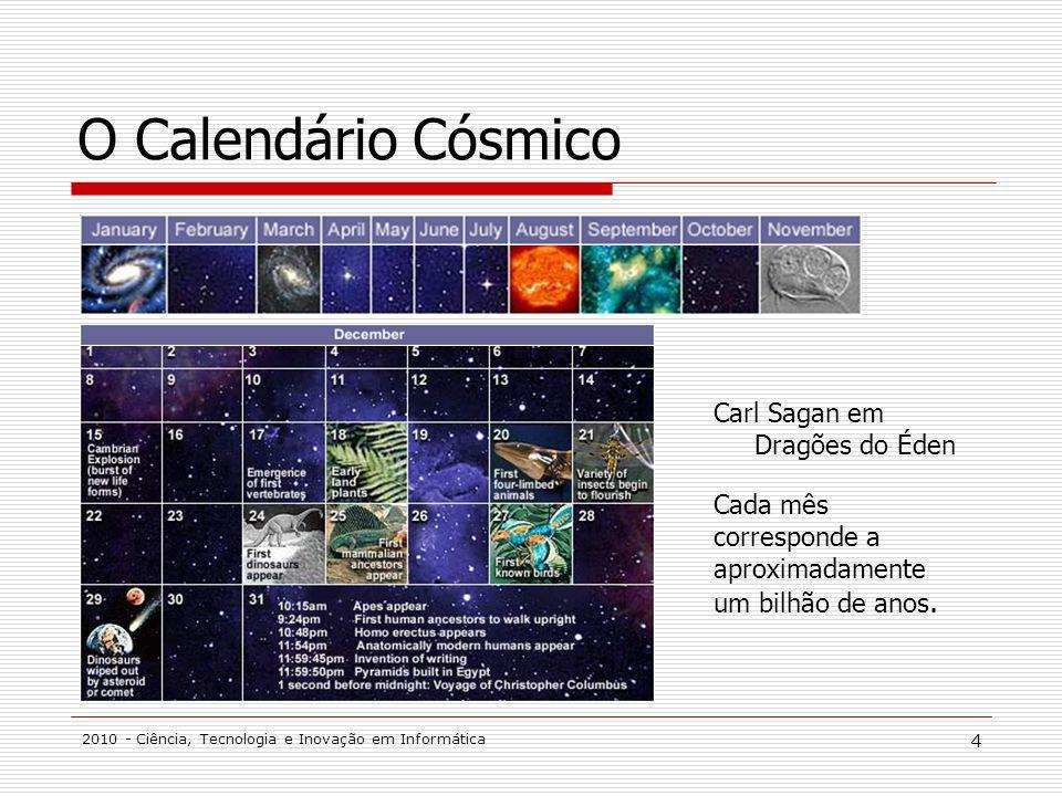 O Calendário Cósmico Carl Sagan em Dragões do Éden