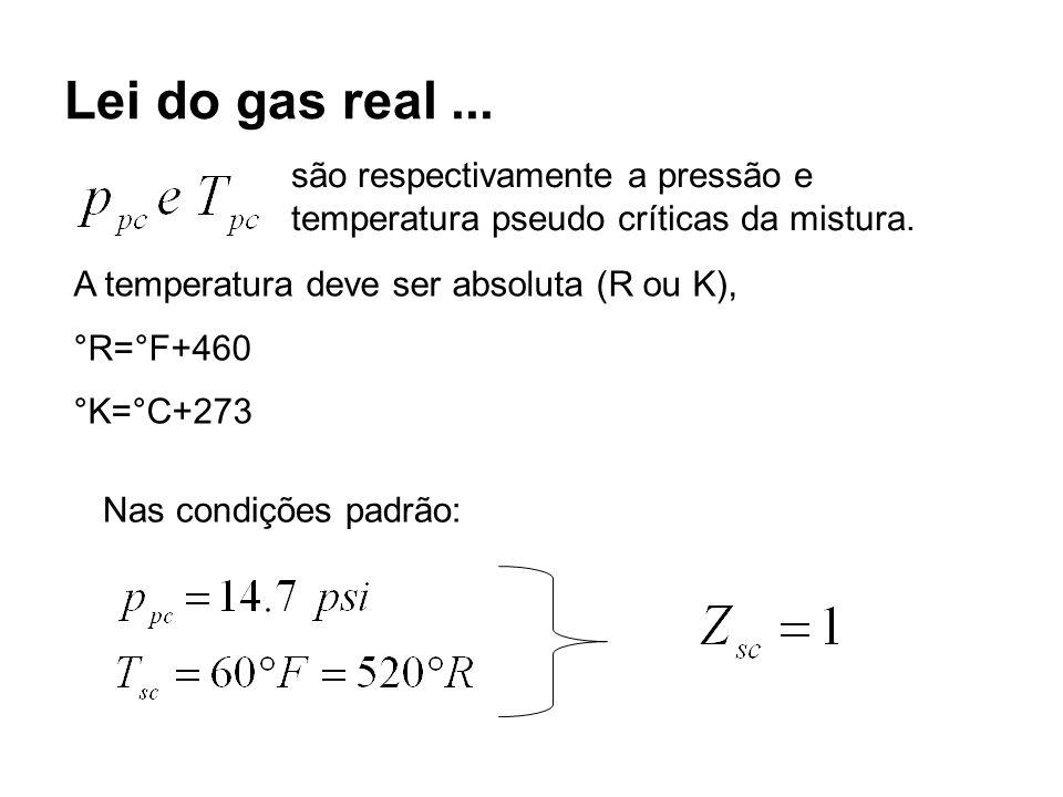Lei do gas real ... são respectivamente a pressão e temperatura pseudo críticas da mistura. A temperatura deve ser absoluta (R ou K),