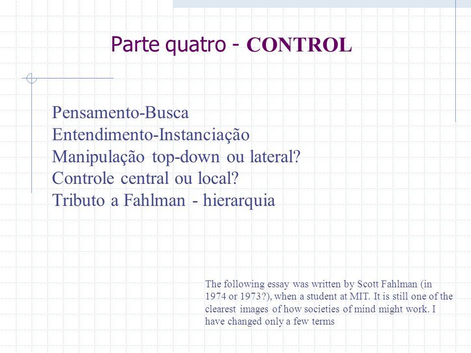 Parte quatro - CONTROL Pensamento-Busca Entendimento-Instanciação