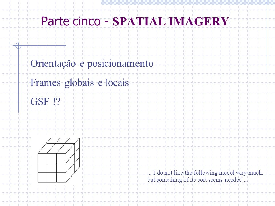 Parte cinco - SPATIAL IMAGERY