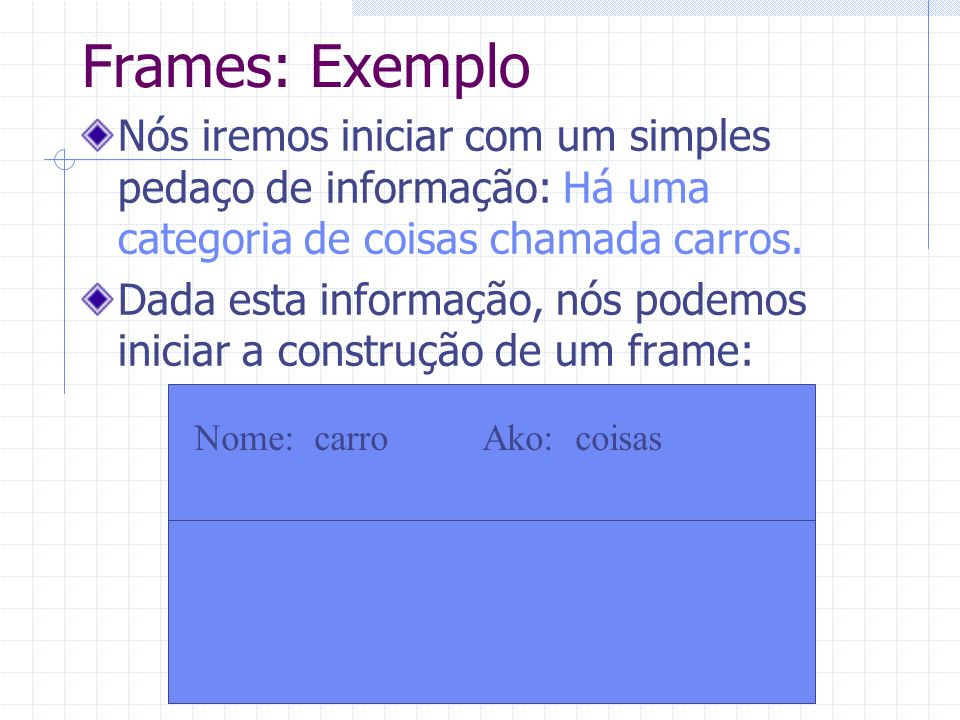 Frames: Exemplo Nós iremos iniciar com um simples pedaço de informação: Há uma categoria de coisas chamada carros.