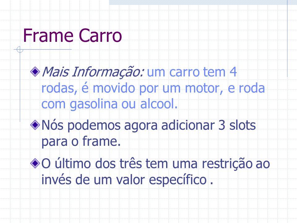 Frame Carro Mais Informação: um carro tem 4 rodas, é movido por um motor, e roda com gasolina ou alcool.