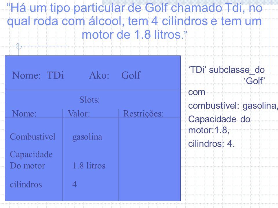 Há um tipo particular de Golf chamado Tdi, no qual roda com álcool, tem 4 cilindros e tem um motor de 1.8 litros.