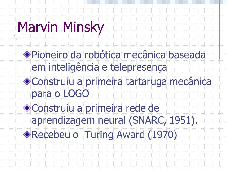 Marvin Minsky Pioneiro da robótica mecânica baseada em inteligência e telepresença. Construiu a primeira tartaruga mecânica para o LOGO.