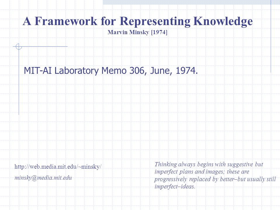 A Framework for Representing Knowledge Marvin Minsky [1974]