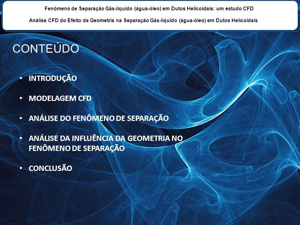CONTEÚDO INTRODUÇÃO MODELAGEM CFD ANÁLISE DO FENÔMENO DE SEPARAÇÃO