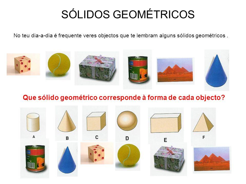 SÓLIDOS GEOMÉTRICOS No teu dia-a-dia é frequente veres objectos que te lembram alguns sólidos geométricos .