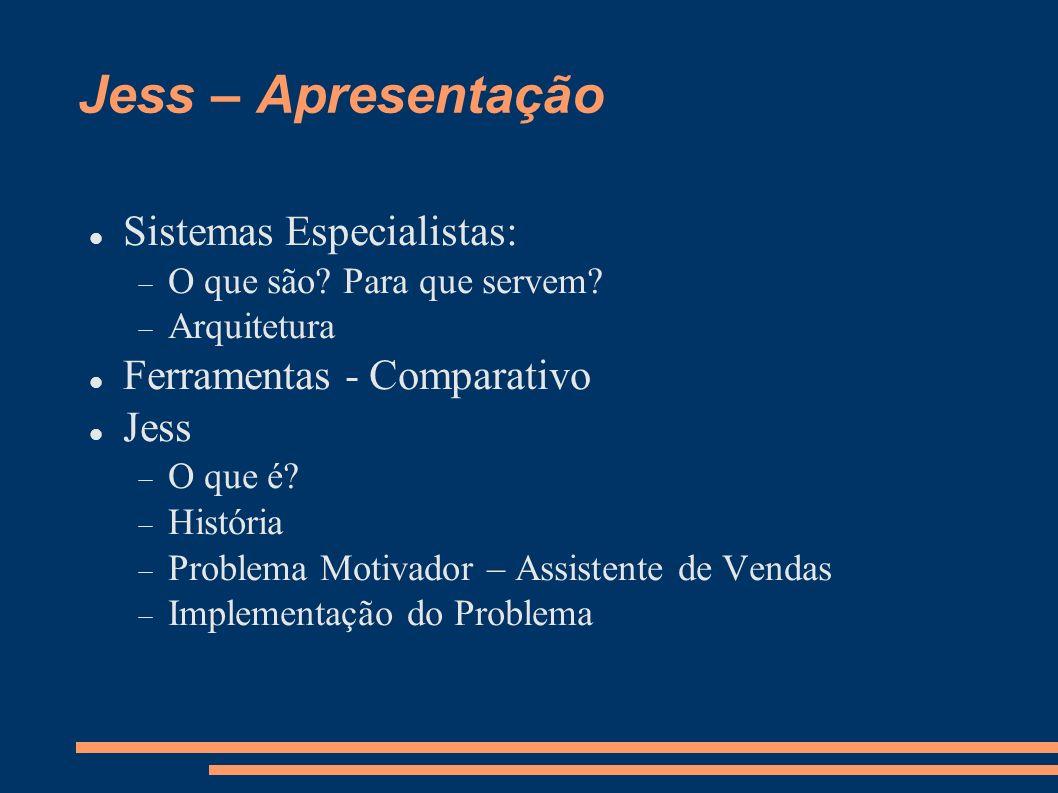 Jess – Apresentação Sistemas Especialistas: Ferramentas - Comparativo