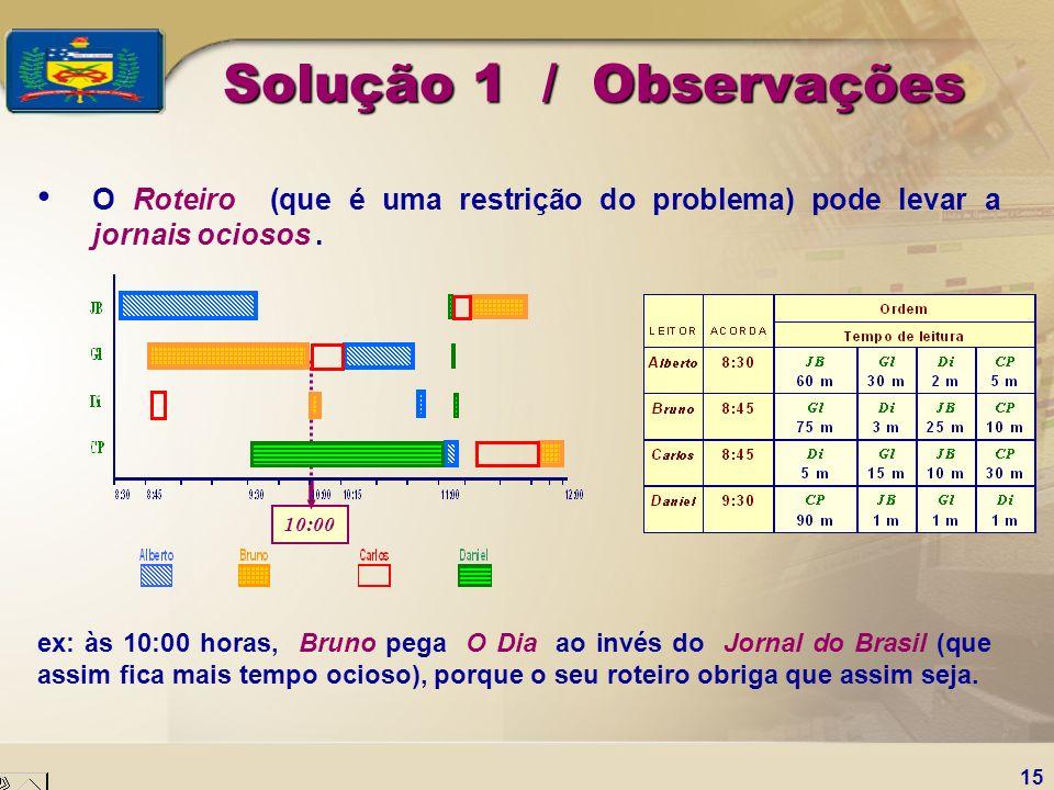 Solução 1 / ObservaçõesO Roteiro (que é uma restrição do problema) pode levar a jornais ociosos .