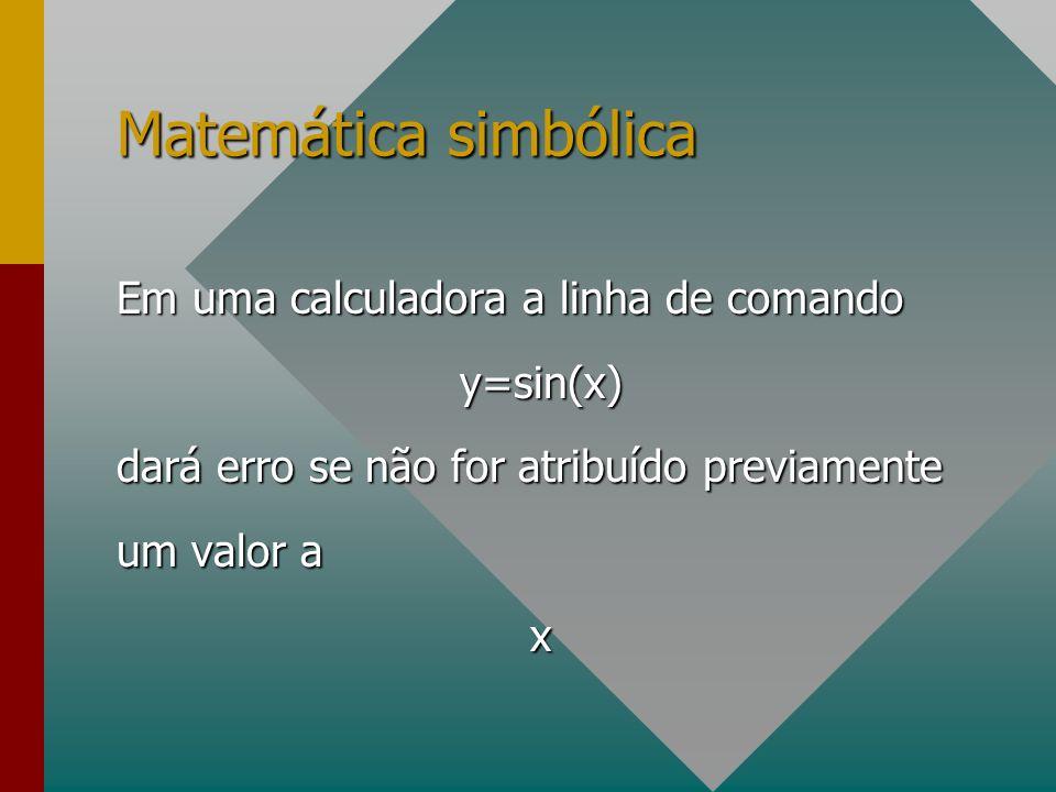 Matemática simbólica Em uma calculadora a linha de comando y=sin(x)
