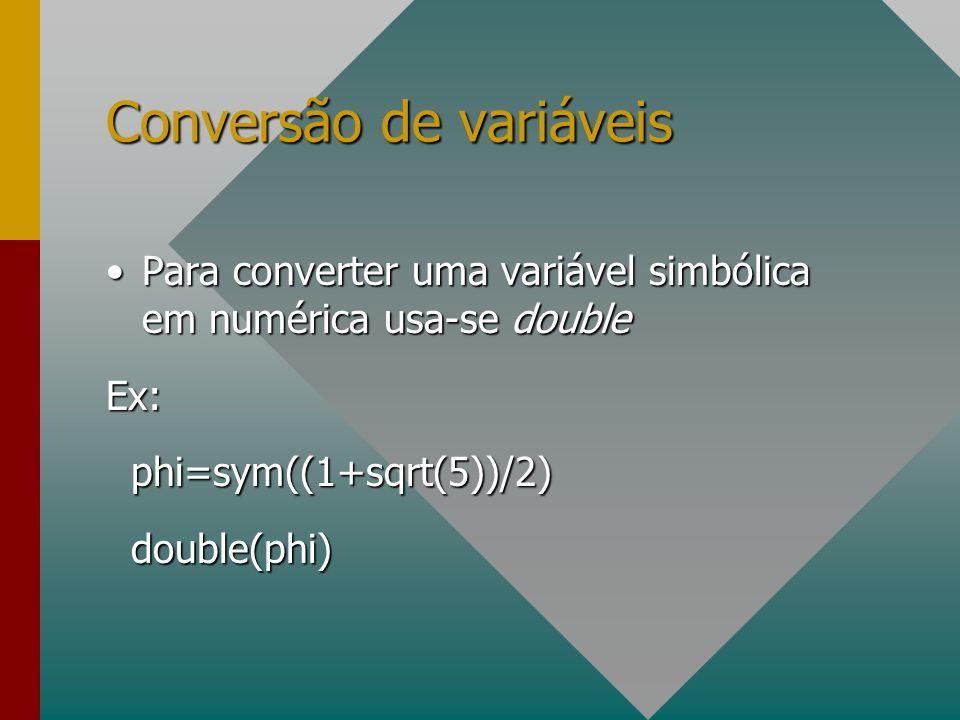 Conversão de variáveis