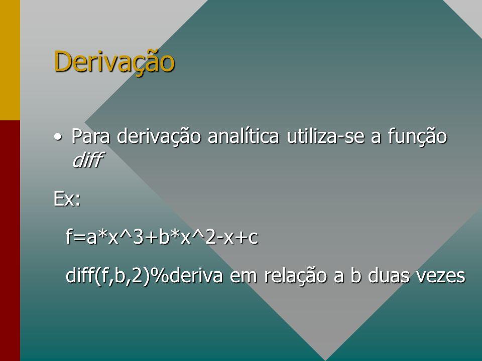 Derivação Para derivação analítica utiliza-se a função diff Ex:
