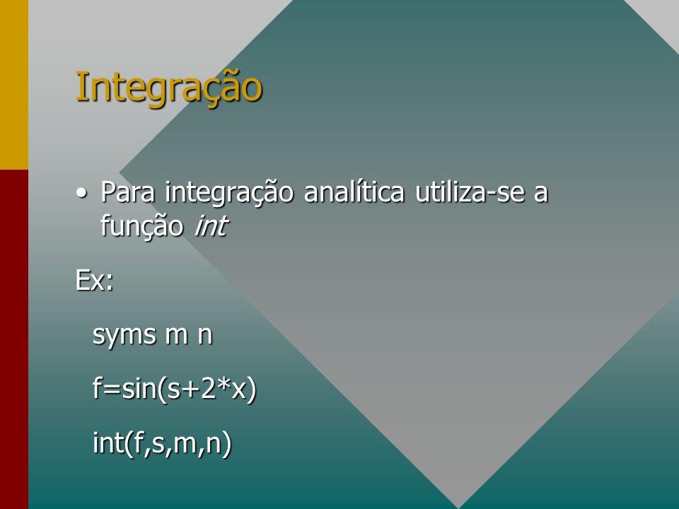 Integração Para integração analítica utiliza-se a função int Ex: